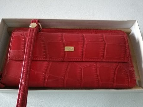 Nicole nowy portfel saszetka skórzany czerwony