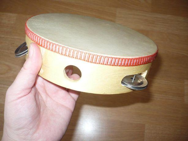 perkusjonalia tamburyn, bębenek drewno, skóra średnica 18cm