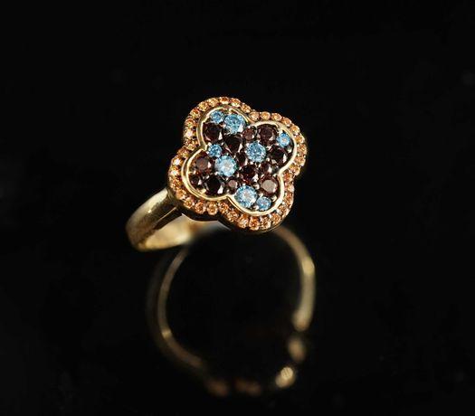 Złoto 585-Złoty pierścionek damski z koniczynką rozm 17