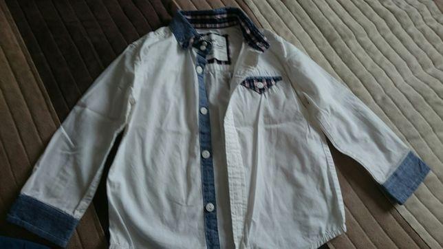 Koszula chłopięca rozm. 98 róż biała niebieska, w kratę - H&M i inne