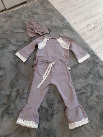 Komplet body, spodnie i turban, rozmiar 74cm fioletowy