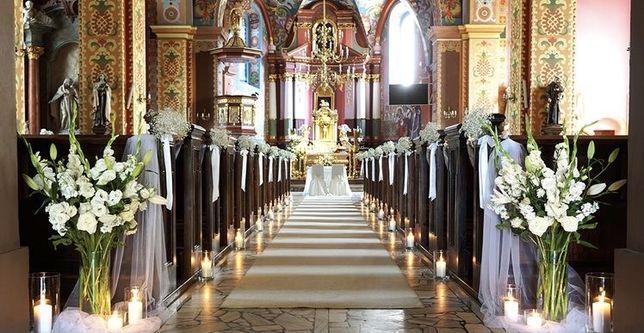 Dekoracja kościoła, samochodu ślub
