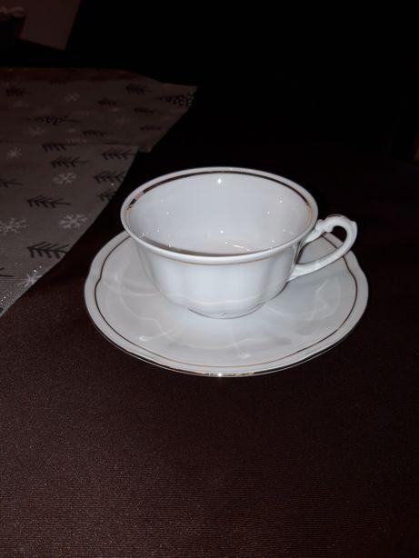 Fiżanki porcelana do herbaty i kawy Ćmielów,talerzyki deser cukiernica