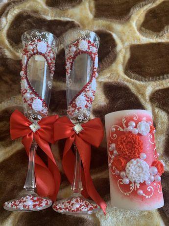 Свадебные бокалы, фужеры, бакалы, свеча, свадебный очаг