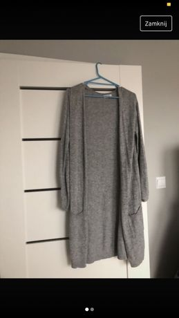 długi szary sweter h&m xs/s