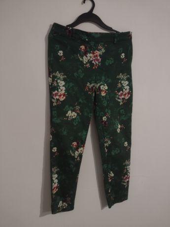 H&M proste spodnie w kwiatki wysoki stan cygaretki