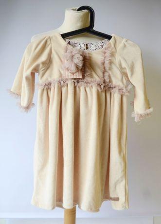 Sukienka NOWA Beżowa 6 7 lat 116 122 cm Tiul Welur Cinnamon Girl Zara