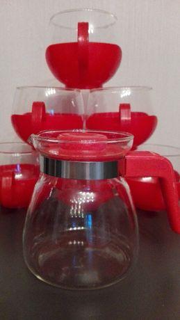 Dzbanek, szklanki, szkło Jenner Glass, DDR