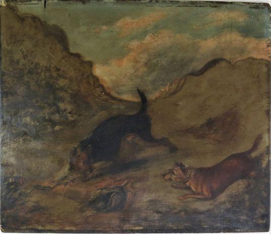 Óleo sobre madeira-dois cães-Escola Inglesa-Séc XIX