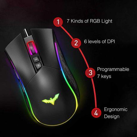 Rato Gaming 7 Botões Iluminação RGB (NOVO)