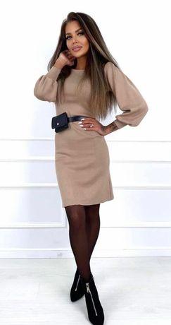 Трикотажное платье беж пудра zara