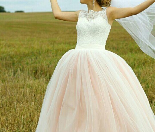 Плаття весільне рожеве пудра, свадебное платье розовое