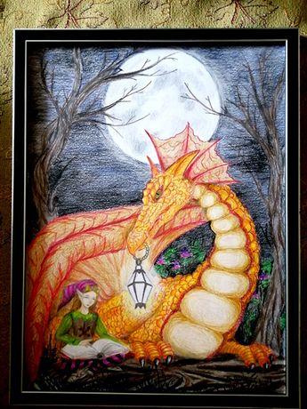 Картина Дракон и Эльф (фэнтези)