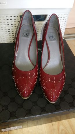 Buty Calvin Klein oryginalne damskie szpilki skórzane roz 37