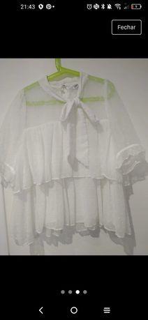 Camisa Zara,branca com laço,usado uma vez