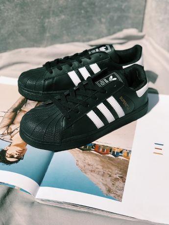 Унисекс Кроссовки черные Adidas Superstar Black Адидас Суперстар
