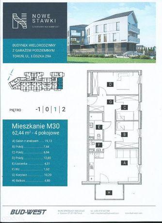 Nowe 4 pokojowe 62m2 winda Toruń Łódźka 29A