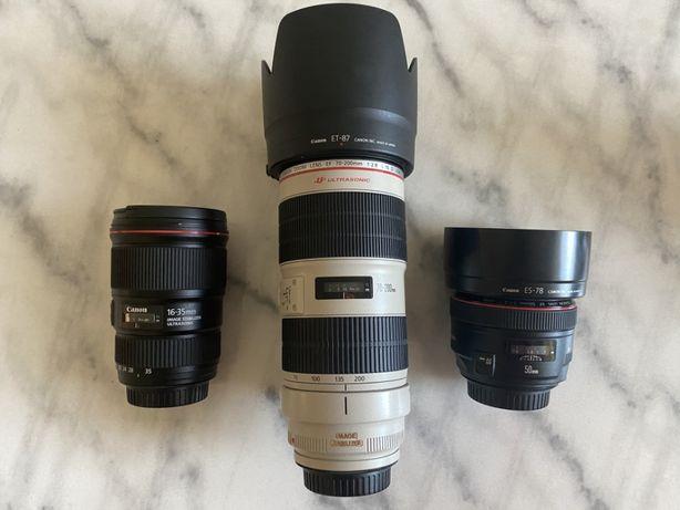 Canon 16-35, 70-200 i 50mm L series