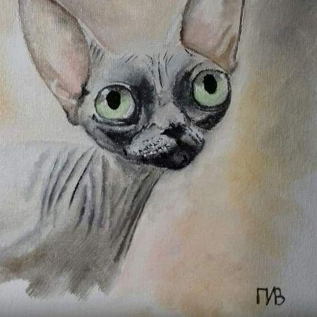 Кошечка сфинкс. Картина маслом