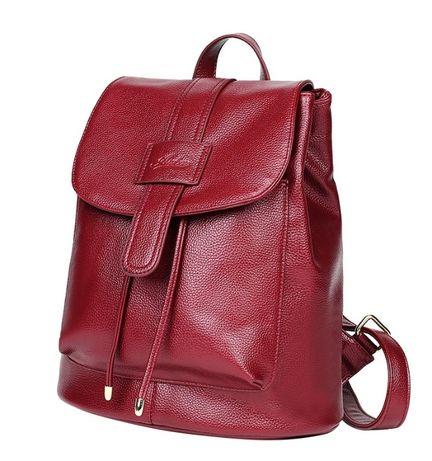 Рюкзак женский кожаный Deluxe красный мат.