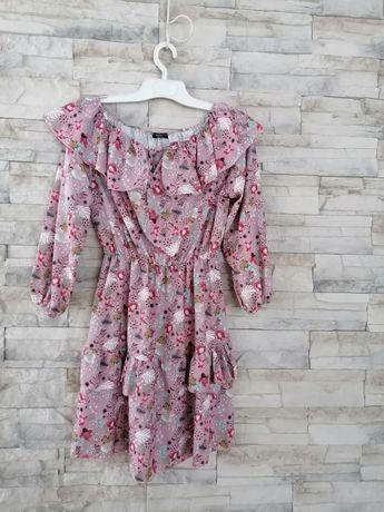 Sukienka boho, kwiaty r. M