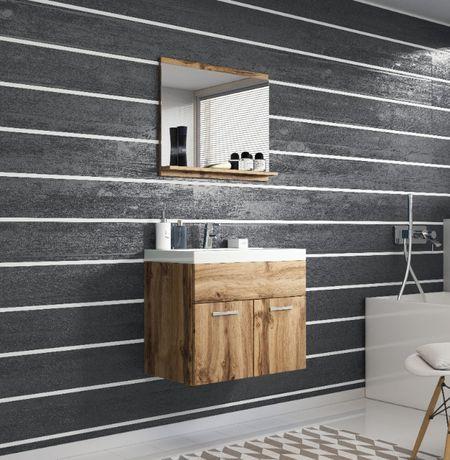 Wisząca szafka łazienkowa z umywalką 60cm Komplet z lustrem