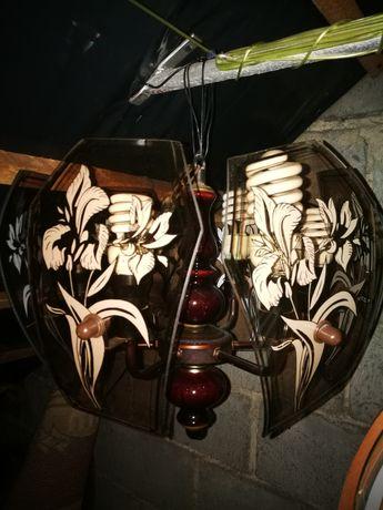 Lampa wisząca drewniano szklana duża