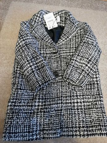 Płaszczyk Zara nowy z metką tweedowy wełna 122 wełniany parka płaszcz