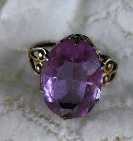 Кольцо винтажное с большим камнем серебро 875