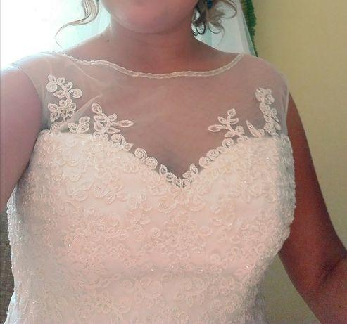 Suknia ślubna AGNES BRIDAL 42 44 ivory ecru ZDOBIONA