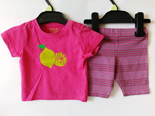 Słodki komplet 5.10.15 różowy 62 na 3-6m spodenki + koszulka 2cz