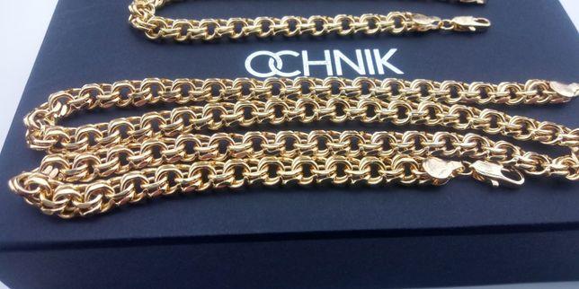 Złoty łańcuszek męski galibardii,ankier,figaro,585 złoto,srebro,złoto,