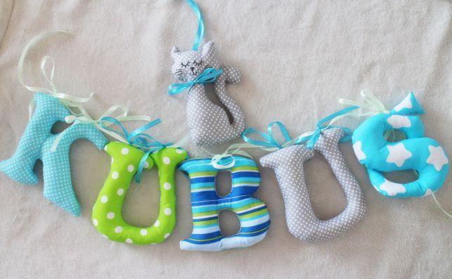 LIterki szyte bawełniane ze wstążeczkami imię dziecka 15 cm wyokości