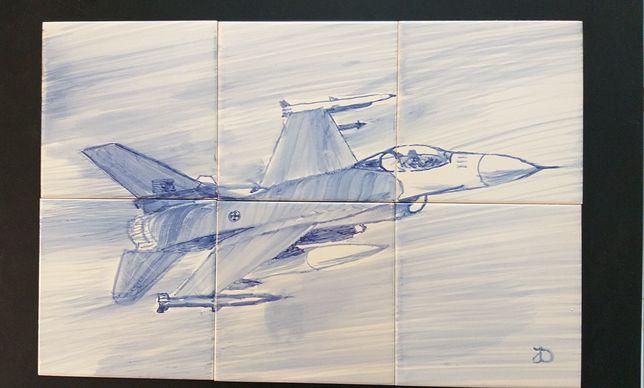 Painel de azulejos avião F16