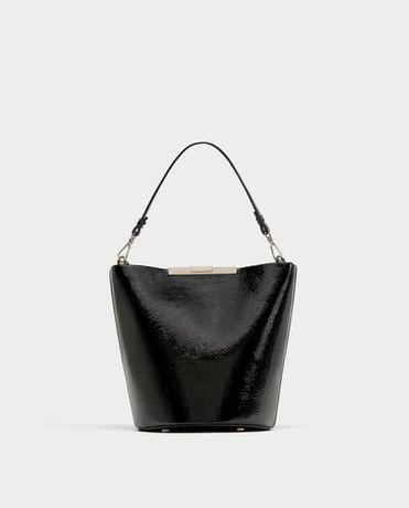ZARA torebka worek czarny lakierowany 8365/204 PŃ super hit nowa pń
