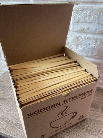 Еко мішалки дерев'яні для кави та чаю wooden stirrers 1000 шт 14 мм