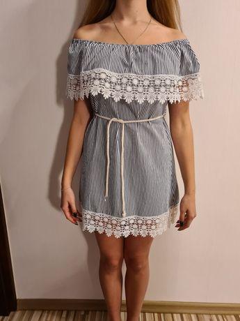 Sukienka letnia hiszpanka w paski niebieska biała