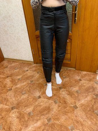 Мото штаны женские кожаные