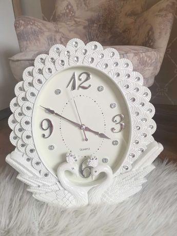 Piękny duży biały zegar Cyrkonie cichy mechanizm