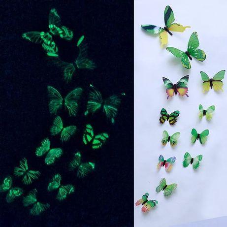 Conjunto de 12 borboletas fluorescentes
