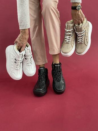 Женские кроссовки кожаные белые модные зимние шерсть Best 23,5-26,5см