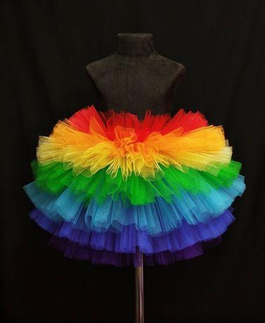 Юбка радуга, разноцветная пышная юбка 3-5 лет