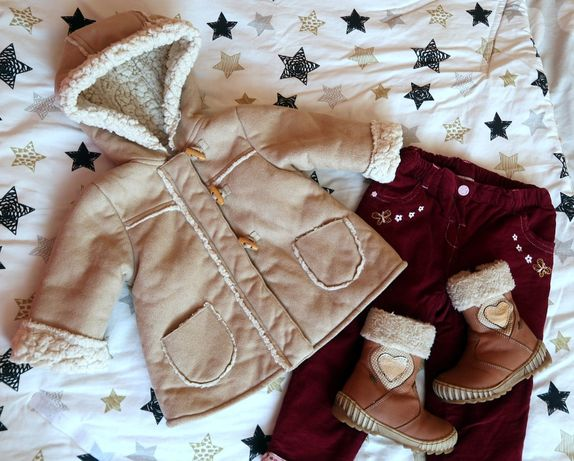 Super zestaw dla dziewczynki, spodnie ocieplane+Kozaki Lasocki+czapka