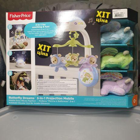Fisher price 3 в 1 мобиль,ночник с проектором,игрушка в коляску