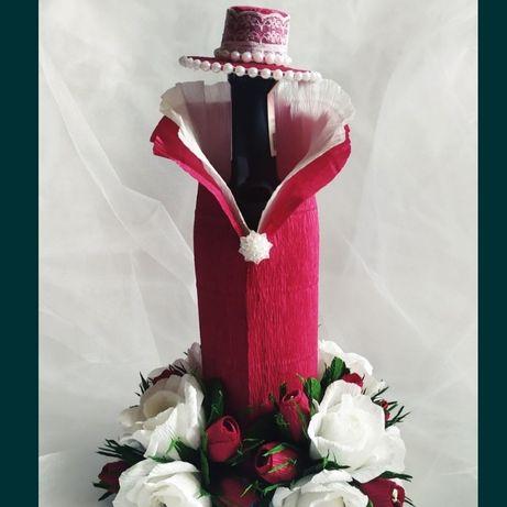 Цветы с конфетами подарок на свадьбу день рождения украшение бутылки