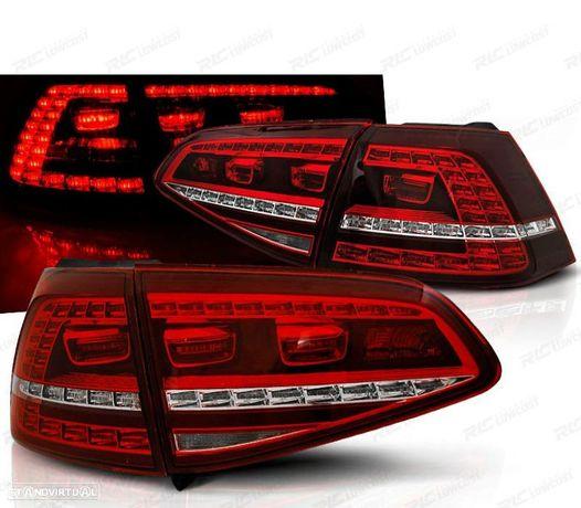 CONJUNTO DE FAROLINS VW GOLF 7 HATCHBACK 13-17 LOOK GTI INDICADORES LEDS DINÂMICOS VERMELHO / CRIST