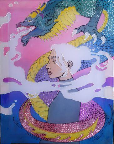 """Батик/ картина - панно с драконом """"Хранитель"""""""