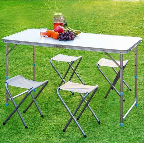 Stolik + 4 krzesła składane ZESTAW TURYSTYCZNY KEMPINGOWY