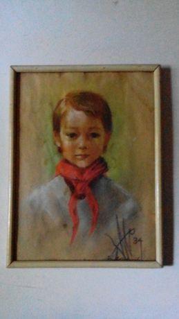 Портрет Пионерки 1934г. Художник Борис Миловидов !