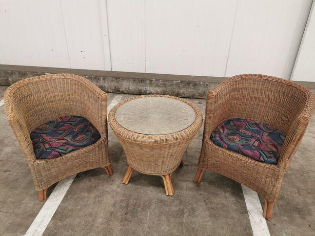 2 x fotele + stolik ratanowy
